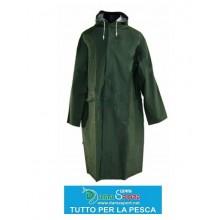 Giacca Cappotto Impermeabile caccia, pesca,lavoro ecc PVC verde tg. M,L,XL.