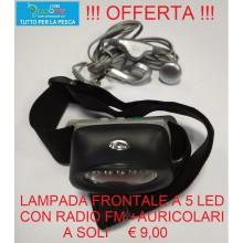 LAMPADA FRONTALE A 5 LED CON RADIO FM + AURICOLARI